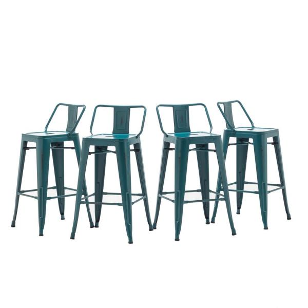 24 in. Teal Modern Industrial Meta Bar Stools (set of 4)