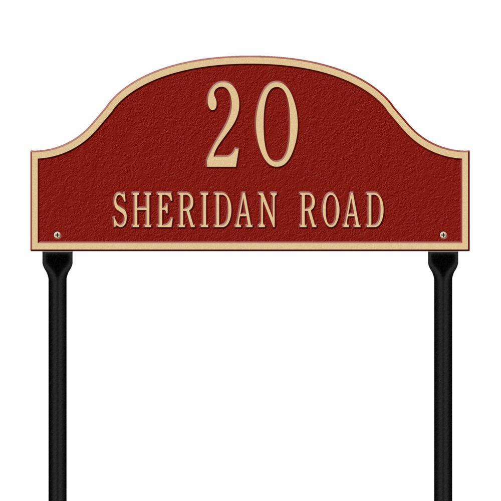 Whitehall Products Admiral Standard Arch Red/Gold Lawn Two Line Address Plaque