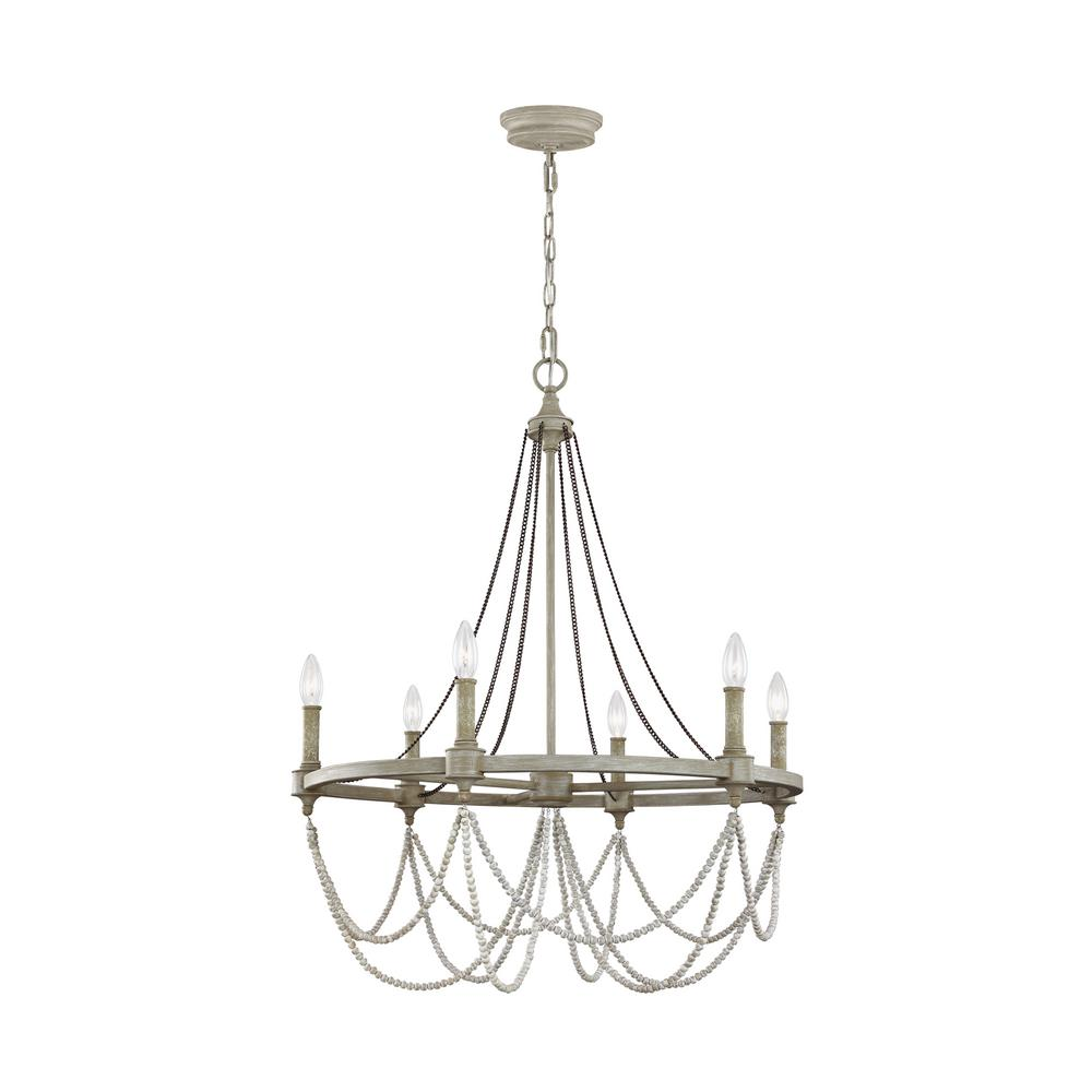 Feiss beverly 6 light french washed oak distressed white wood feiss beverly 6 light french washed oak distressed white wood chandelier aloadofball Image collections