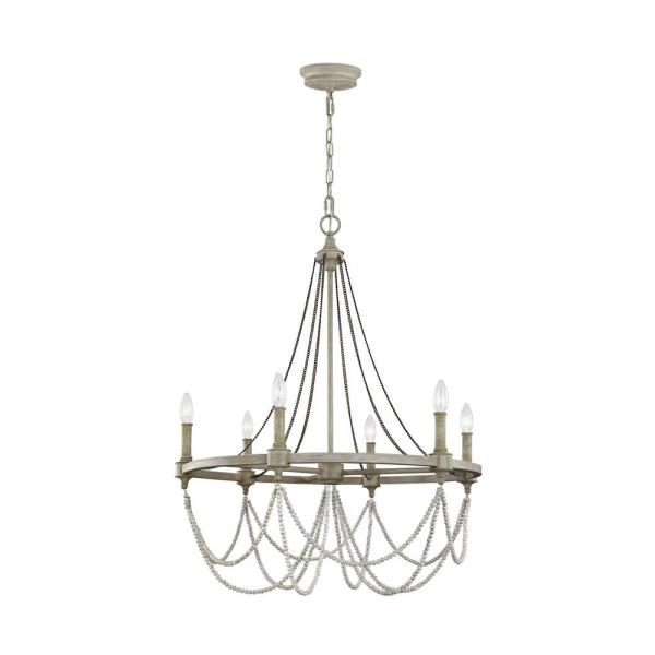 Beverly 28 in. W. 6-Light French Washed Oak / Distressed White Wood Chandelier