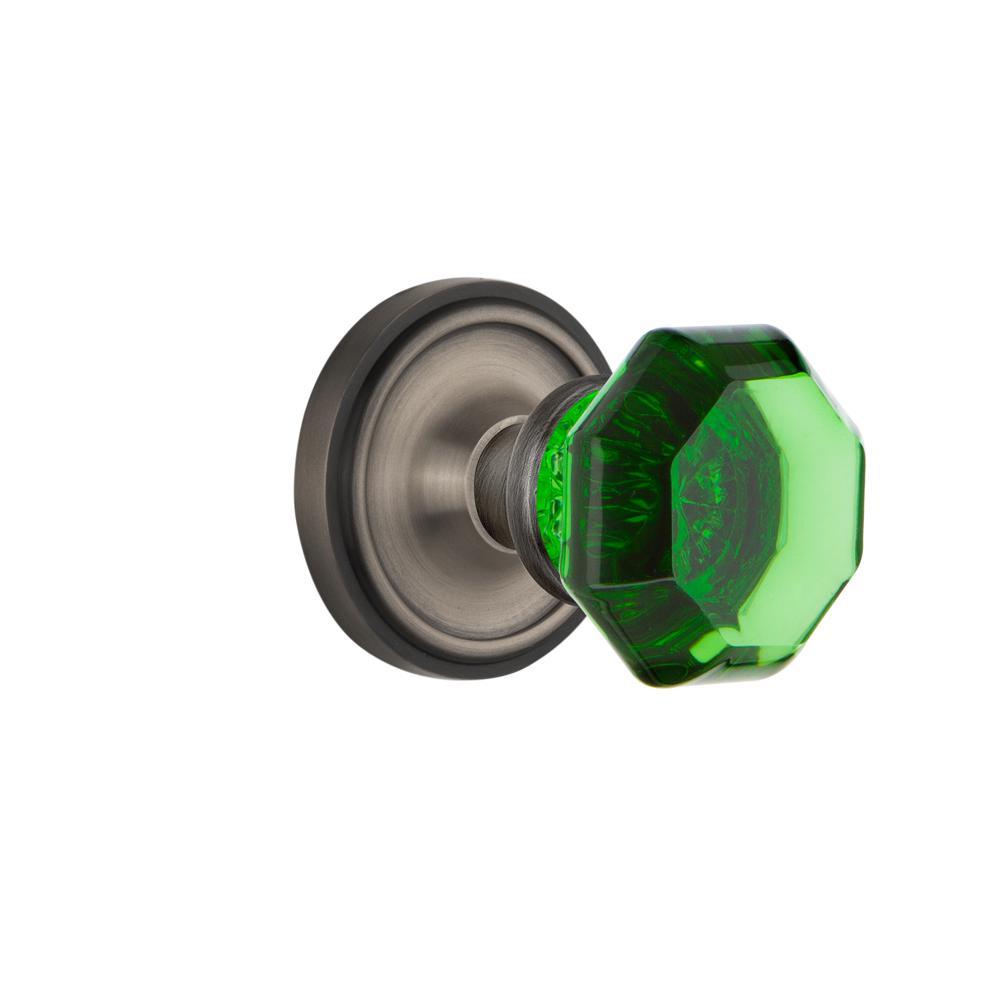 Classic Rosette 2-3/8 in. Backset Antique Pewter Privacy Waldorf Emerald Door Knob