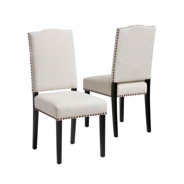 Brunello Beige Fabric Studded Dining Chairs (Set of 2)
