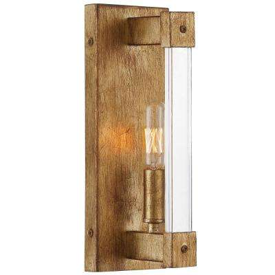 Halcyon 1-Light Antiqued Gold Leaf Wall Sconce