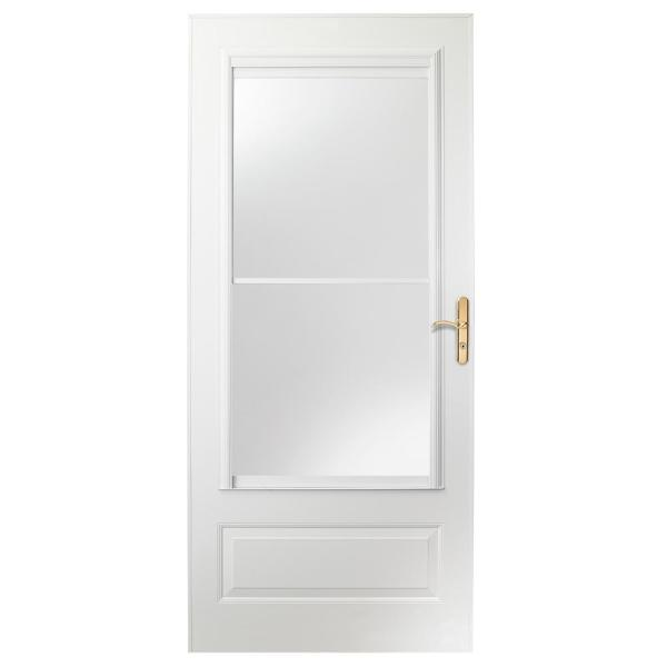 34 in. x 80 in. 400 Series White Universal Self-Storing Aluminum Storm Door with Brass Hardware