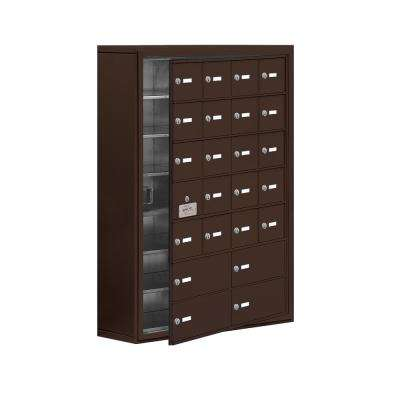 19100 Series 30.5 in. W x 42 in. H x 9.25 in. D 23 Doors Cell Phone Locker Surface Mount Keyed Lock in Bronze