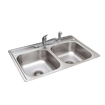 Essentials EZ Clip Install All-in-One Kit Drop-In Stainless Steel 33 in. 4-Hole 50/50 Double Bowl Kitchen Sink