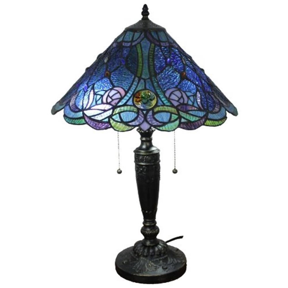 Amora Lighting 24 In Tiffany Style And Blue Table Lamp Am1102tl16