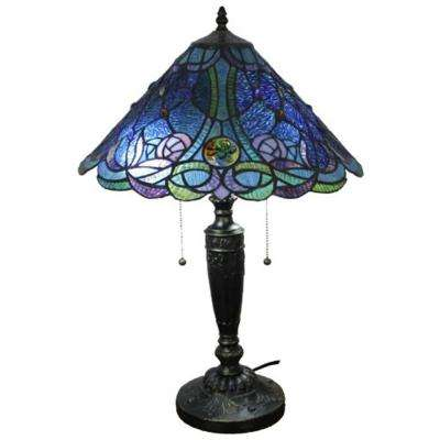 24 in. Tiffany Style and Blue Table Lamp
