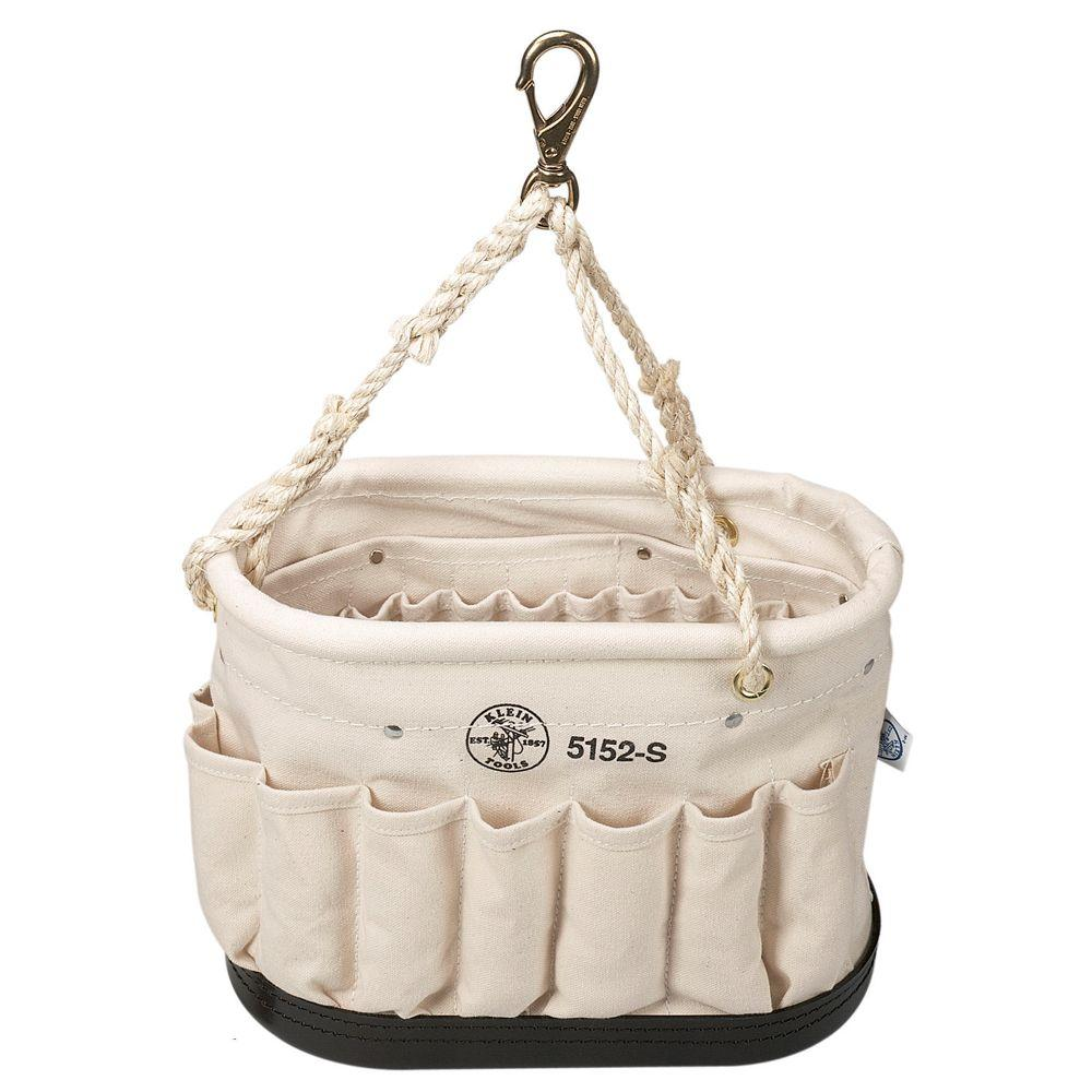 Klein Tools Canvas Oval Bucket Tool Bag W 41 Pockets Lineman Electrician Carrier