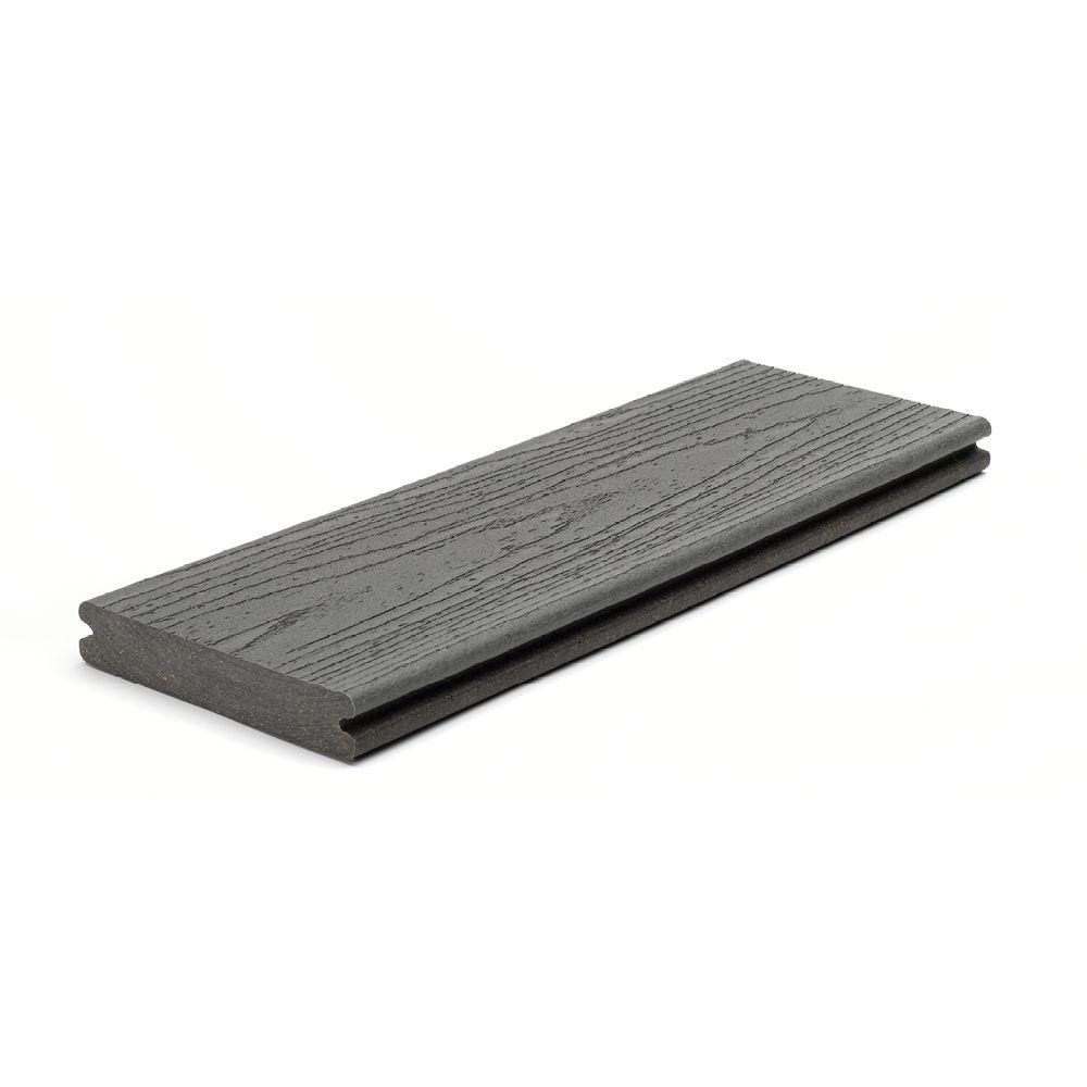 Trex enhance 1 in x 5 1 2 in x 12 ft clam shell grooved for Capped composite decking