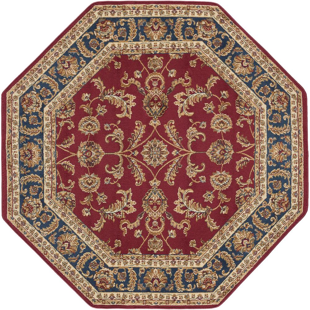 Tayse Rugs Sensation Red 5 Ft 3 In Octagon Transitional