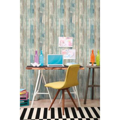 28.18 sq. ft. Blue Distressed Wood Peel and Stick Wallpaper
