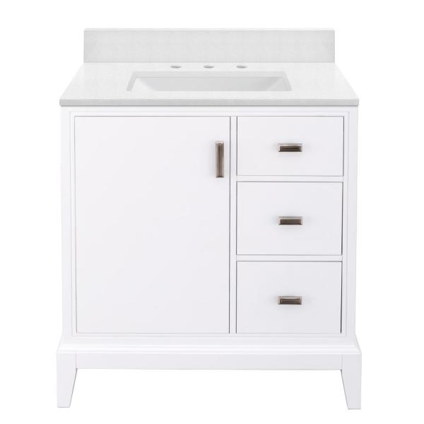 Shaelyn 31 in. W x 22 in. D Bath Vanity in White RH with Engineered Marble Vanity Top in Snowstorm with White Sink
