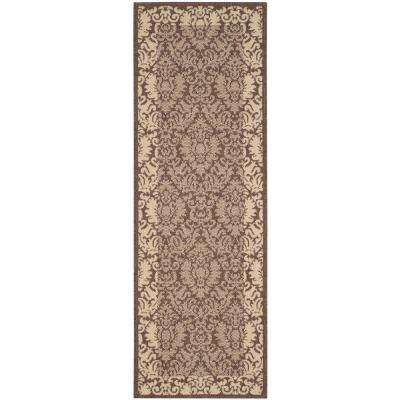 Courtyard Chocolate/Natural 2 ft. x 14 ft. Indoor/Outdoor Runner Rug