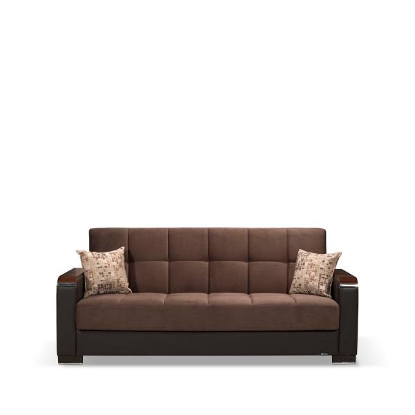 Ottomanson Armada Chocolate Brown Wooden Armed Sofa Sleeper Bed with Storage