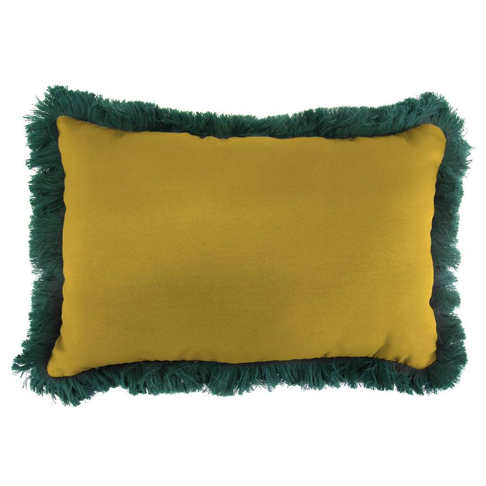Jordan Manufacturing Sunbrella 9 in. x 22 in. Canvas Maize Lumbar Outdoor Pillow with Forest Green Fringe