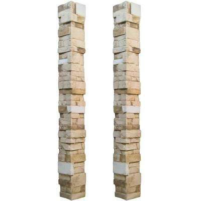 Stacked Stone 3.25 in. x 48 in. x 3.25 in. Almond Taupe Faux Stone Keyless Corner (2-Pack)