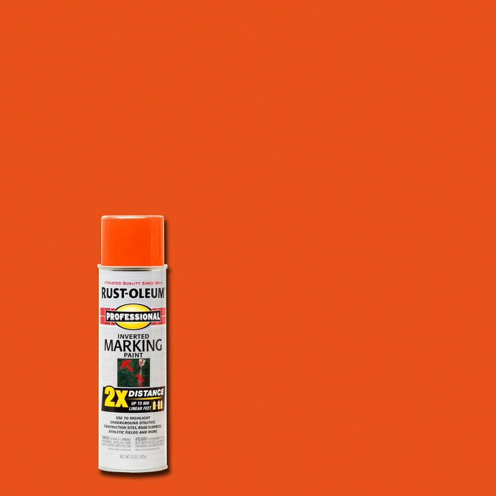Rust-Oleum Professional 15 oz. Fluorescent Red-Orange 2X Distance Inverted Marking Spray Paint