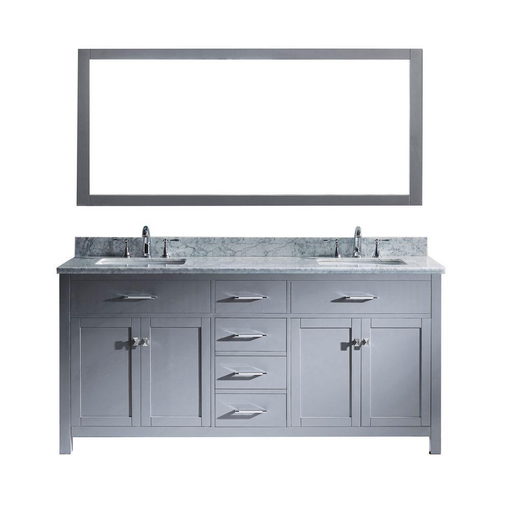 Virtu USA Caroline 72 in. W Bath Vanity in Gray with Marble Vanity