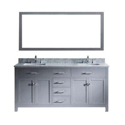 Caroline 72 in. W x 36 in. H Vanity with Marble Vanity Top in Carrara White with White Square Basin and Mirror