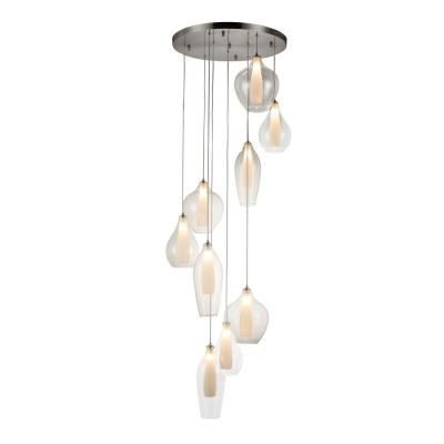 Botella 9-Light Brushed Nickel Cluster Pendant with Clear Glass Shades
