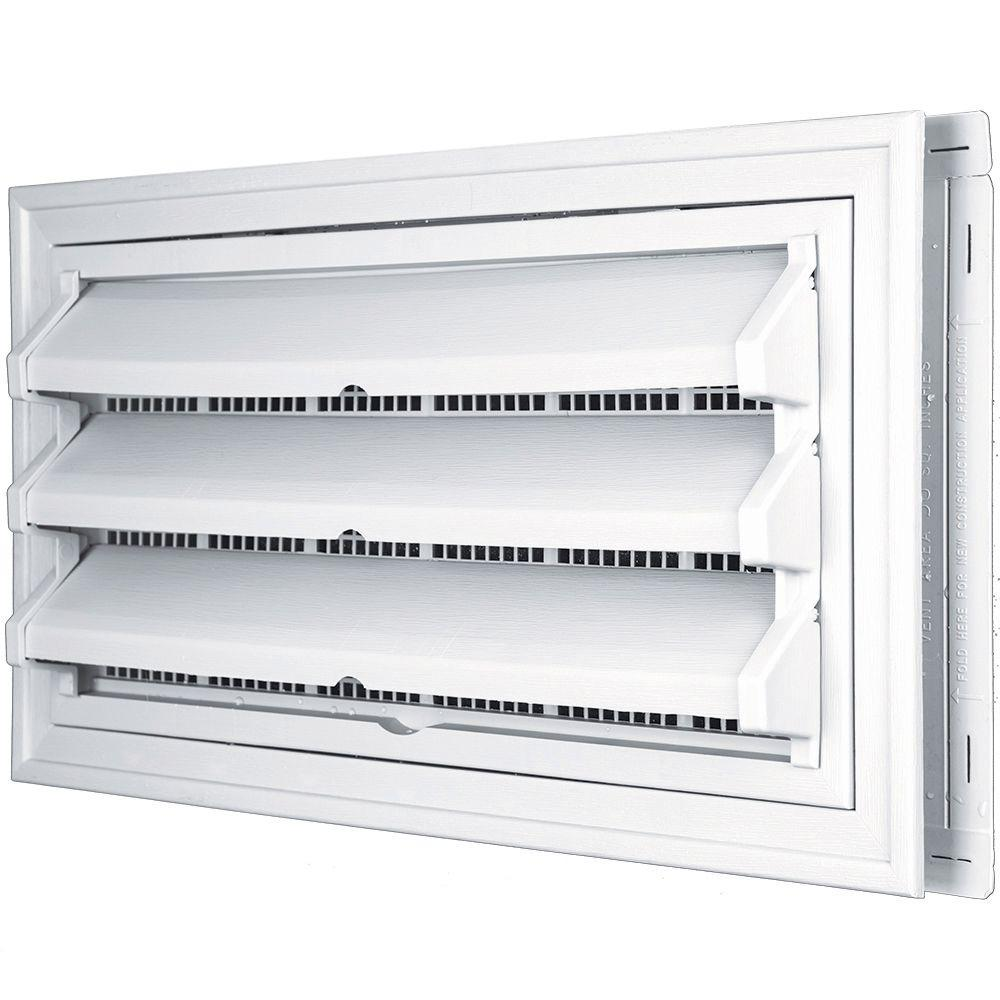 Builders Edge 9-3/8 in. x 17-1/2 in. Foundation Vent Kit with Trim Ring and Optional Fixed Louvers (Molded Screen) in #001 White