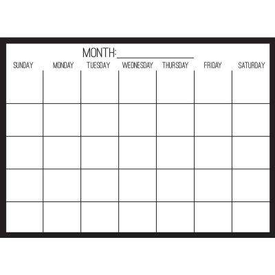 Black on Clear Monthly Calendar Decal
