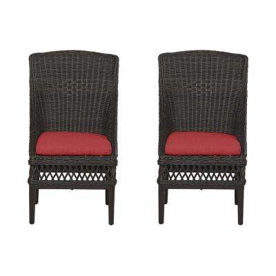 Woodbury Dark Brown Wicker Outdoor Patio Dining Chair with CushionGuard Chili Red Cushions (2-Pack)