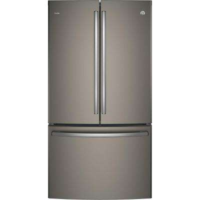 Profile 36 in. W 23.1 cu. ft. French Door Refrigerator in Slate, Counter Depth and Fingerprint Resistant