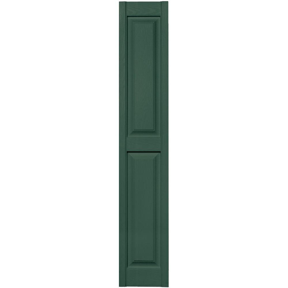 Builders Edge 12 in. x 67 in. Raised Panel Vinyl Exterior Shutters Pair in #028 Forest Green
