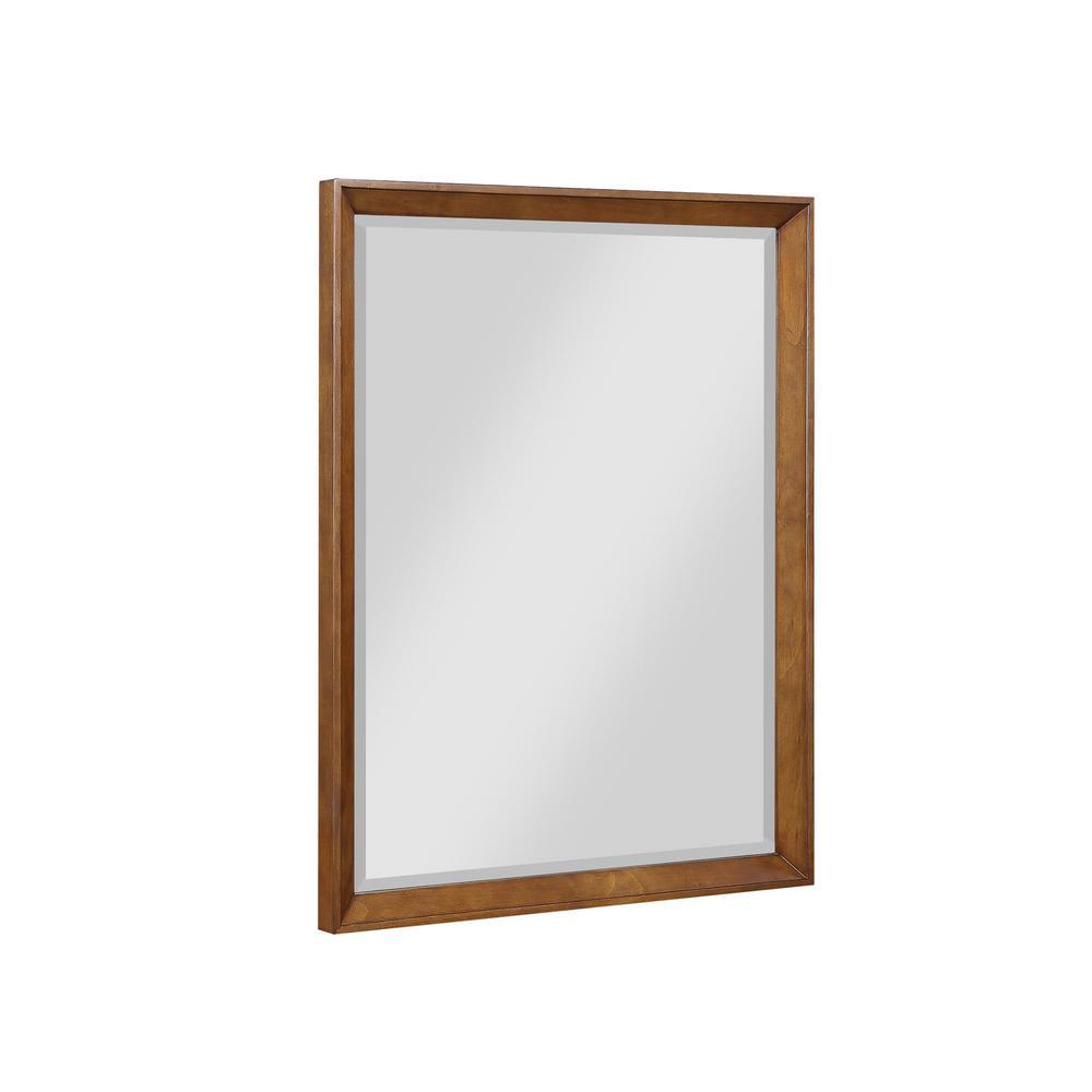 Jalila 30 in. W x 38 in. H Framed Rectangular Beveled Edge Bathroom Vanity Mirror in Chocolate