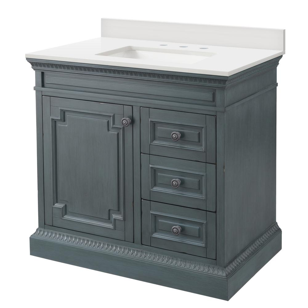 Home Decorators Collection Cailla 37 in. W Bath Vanity in Distressed Blue Fog with Engineered Marble Vanity Top in Winter White with White Sink