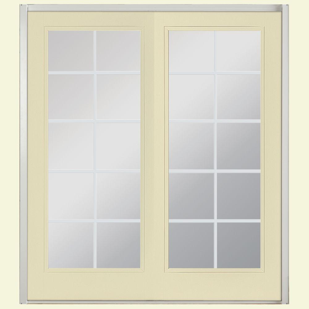 Masonite 72 in. x 80 in. Golden Haystack Prehung Right-Hand Inswing 10 Lite Fiberglass Patio Door w/ No Brickmold in Vinyl Frame