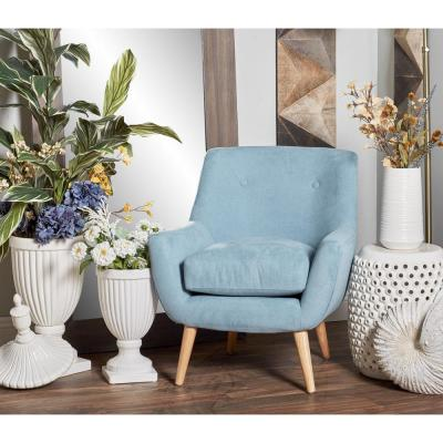 Light Blue Fabric and Wood Cushioned Arm Chair
