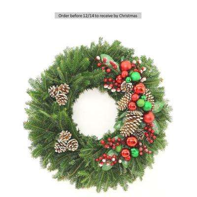 24 in. Fresh Christmas Splendor Fraser Fir Evergreen Wreath