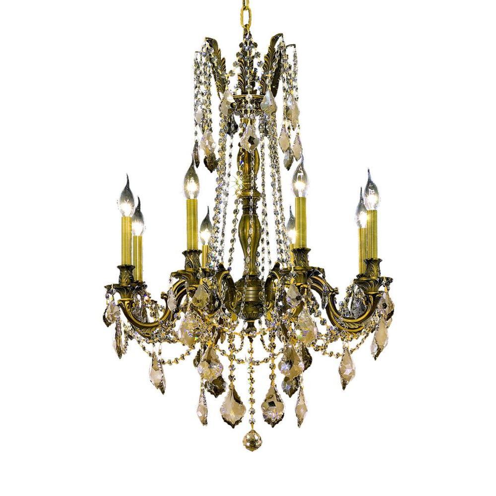 Elegant Lighting 8-Light Antique Bronze Chandelier with Golden Teak Smoky Crystal