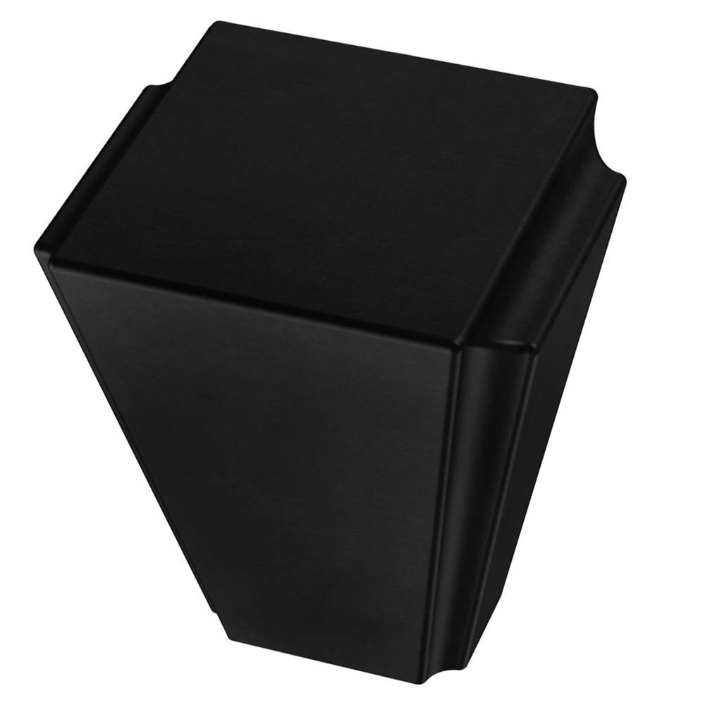 Modern Notched 1-1/8 in. (28mm) Matte Black Cabinet Knob