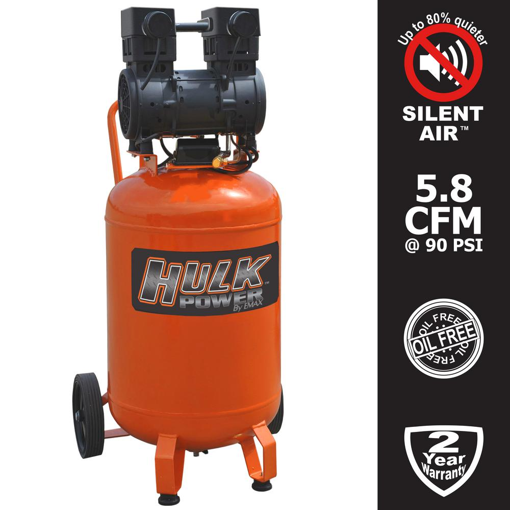 20 Gal. 2 HP Portable Electric-Powered Vertical Silent Air Compressor