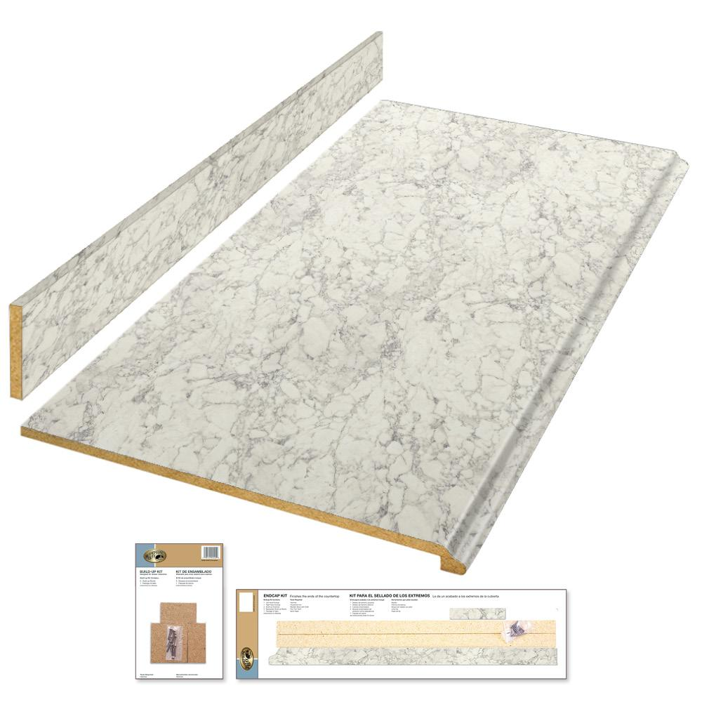 4 ft. Laminate Countertop Kit in Marmo Bianco with Premium Textured