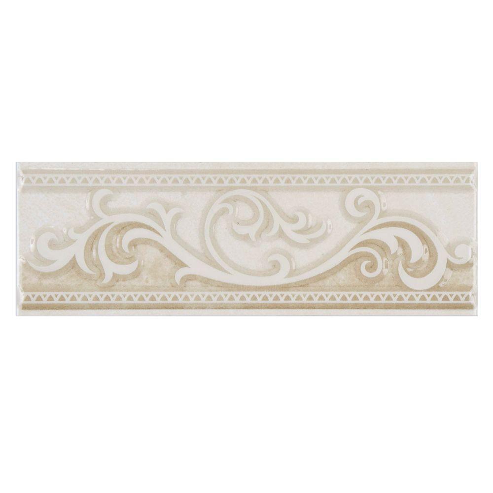 Merola Tile Wave Limestone 2-1/2 in. x 8 in. Ceramic Listello Wall Trim Tile