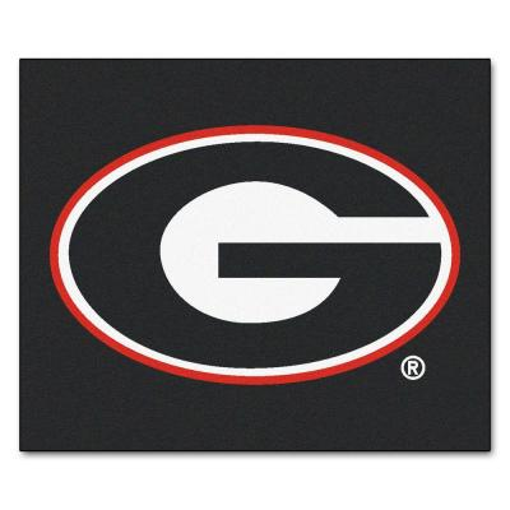 NCAA University of Georgia Black 5 ft. x 6 ft. Indoor/Outdoor Tailgater Area Rug