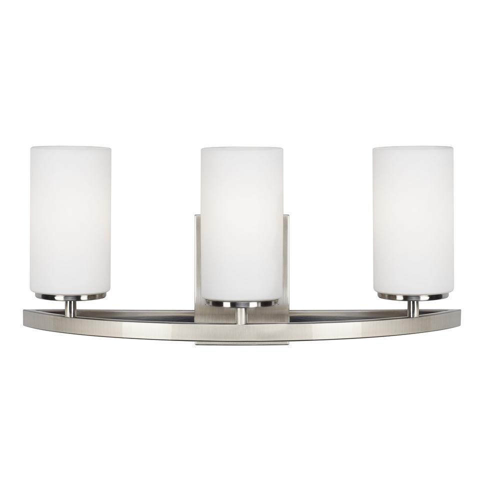 Sea Gull Lighting Visalia 20 25 In W 3 Light Brushed Nickel Bathroom Vanity With White Etched Gl Shades