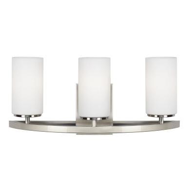 Visalia 20.25 in. W 3-Light Brushed Nickel Bathroom Vanity Light with White Etched Glass Shades