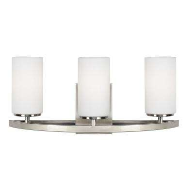 Visalia 20.25 in. 3-Light Brushed Nickel Bath Light