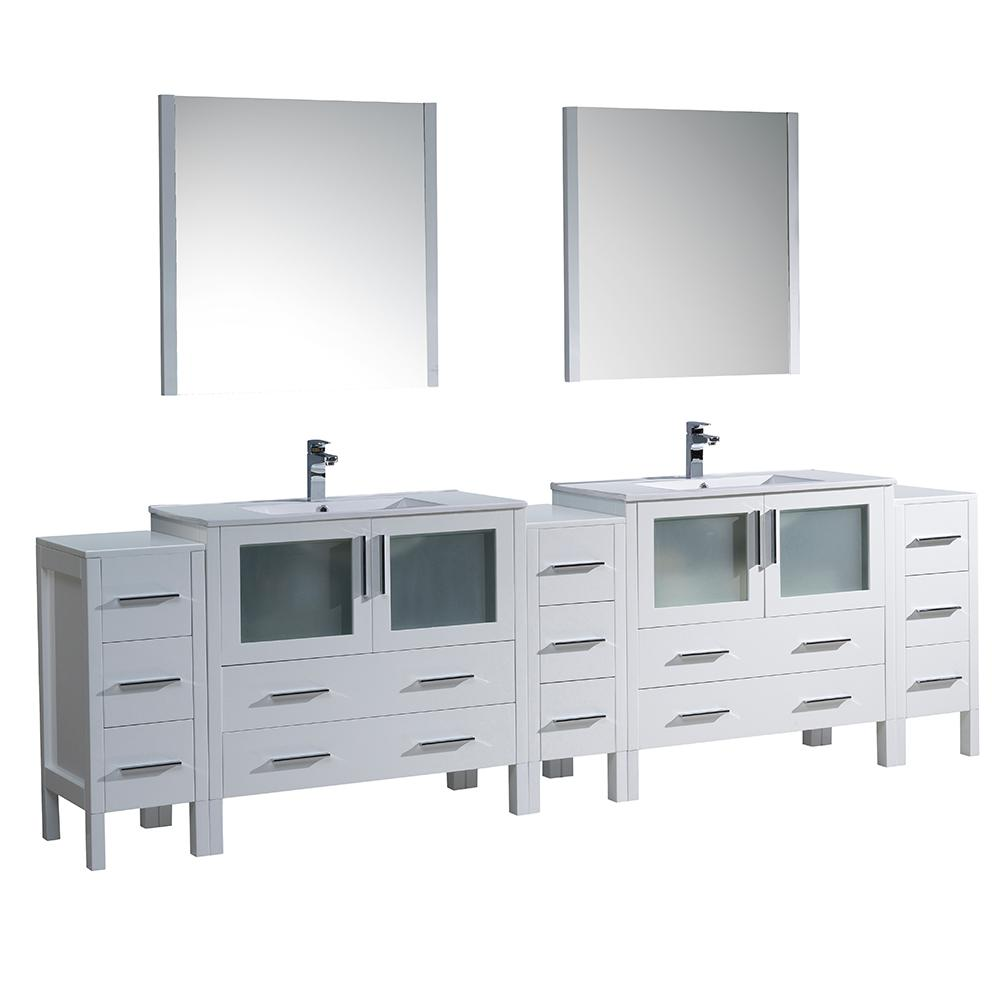 Fresca Torino 108 in. Double Vanity in White with Ceramic Vanity Top in White with White Basins and Mirrors