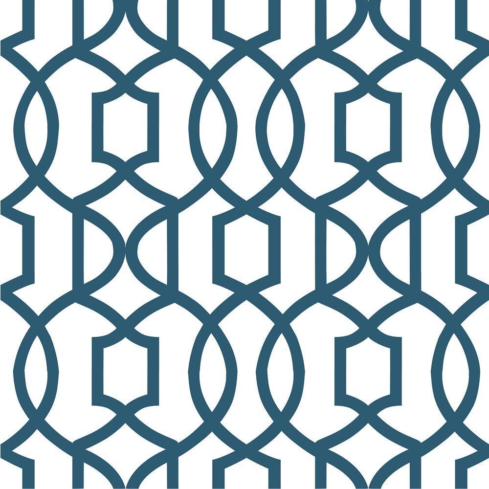 NuWallpaper Navy Grand Trellis Peel And Stick Wallpaper by NuWallpaper
