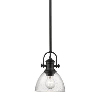 Hines 1-Light Black Chandelier with Seeded Glass Shade