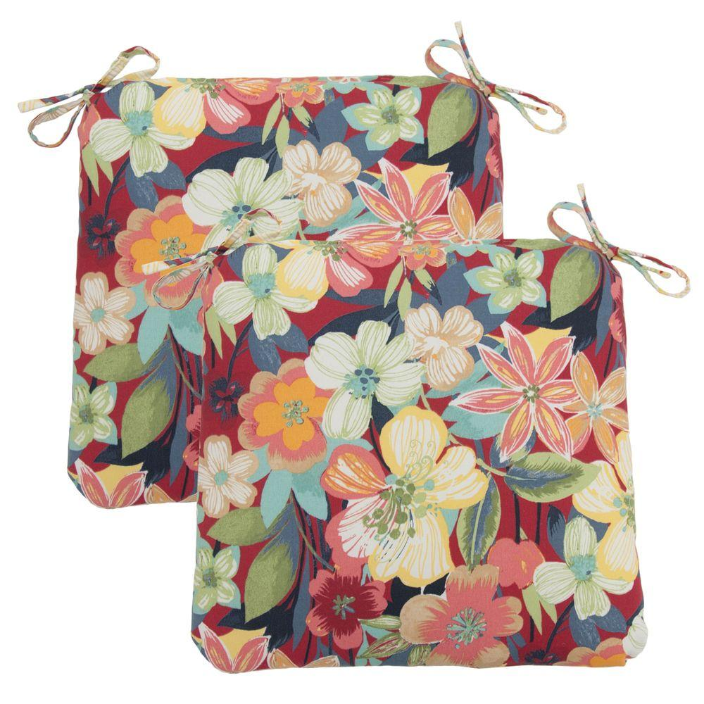 Hampton Bay Hideaway Floral Outdoor Chair Cushion (2-Pack)