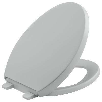 Reveal Quiet-Close Elongated Closed Front Toilet Seat with Grip-Tight Bumpers in Ice Grey