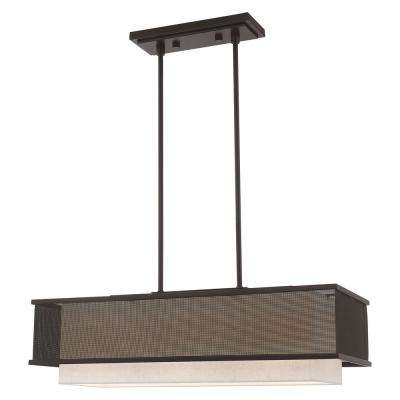 Braddock 3-Light Bronze Linear Chandelier with Stainless Steel Mesh Shade and Fabric Hardback Shade